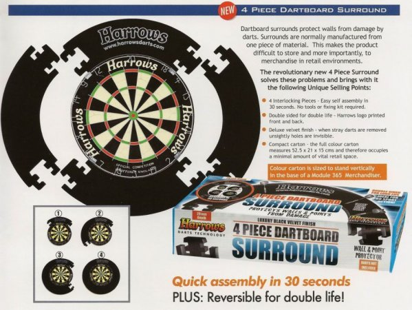 Harrows Surround 4 Piece Dartboard - kruh kolem terče - Red